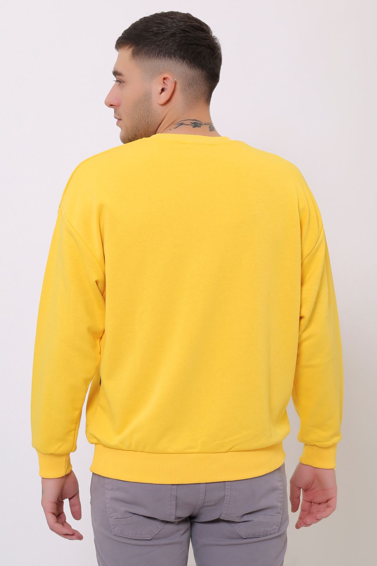 Sarı Erkek Nakış Baskılı Bisiklet Yaka Sweatshirt