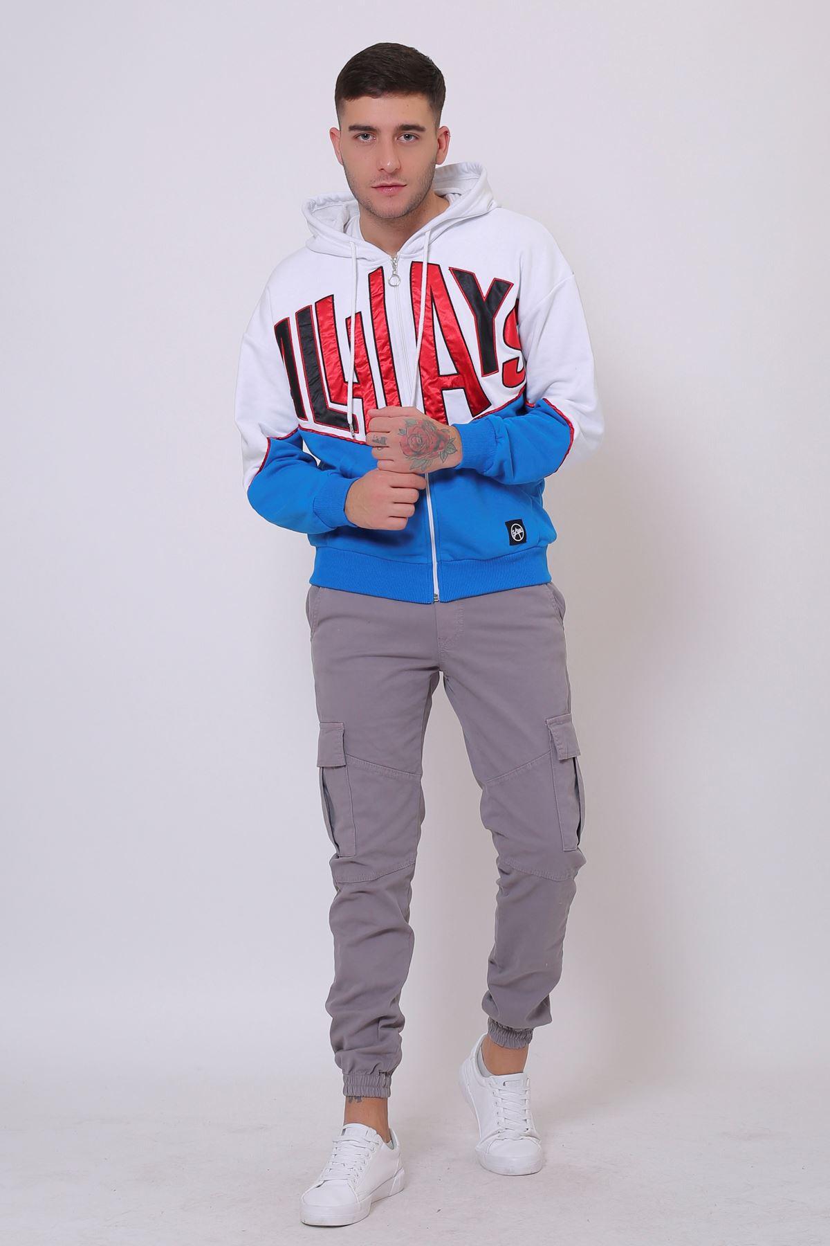 Beyaz Erkek Nakışlı Fermuarlı Kapüşonlu Kanguru Cep Sweatshirt