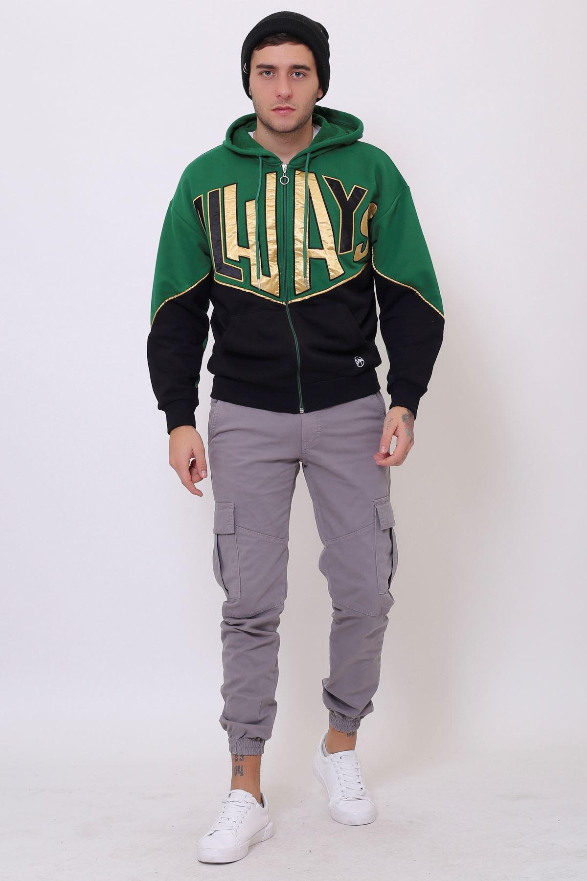Yeşil Erkek Nakışlı Fermuarlı Kapüşonlu Kanguru Cep Sweatshirt