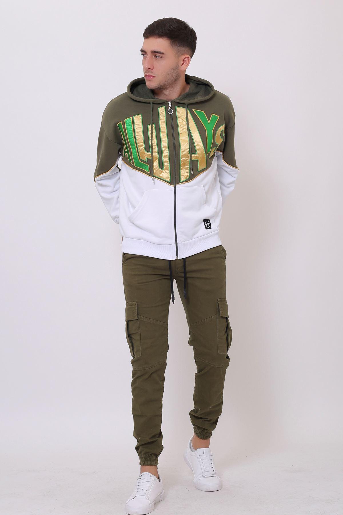 Haki Erkek Nakışlı Fermuarlı Kapüşonlu Kanguru Cep Sweatshirt