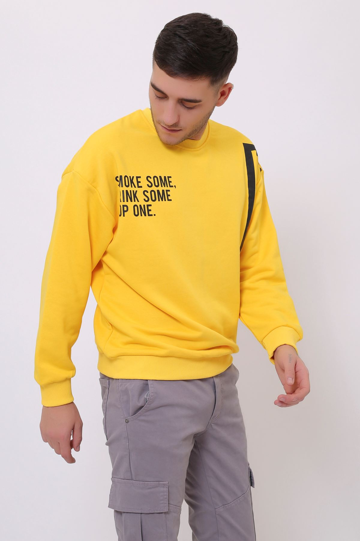 Sarı Erkek Baskılı Bisiklet Yaka Sweatshirt