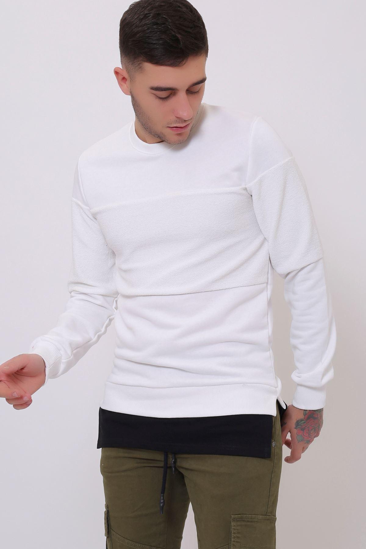 Beyaz Erkek Spor Kesim Bisiklet Yaka Sweatshirt