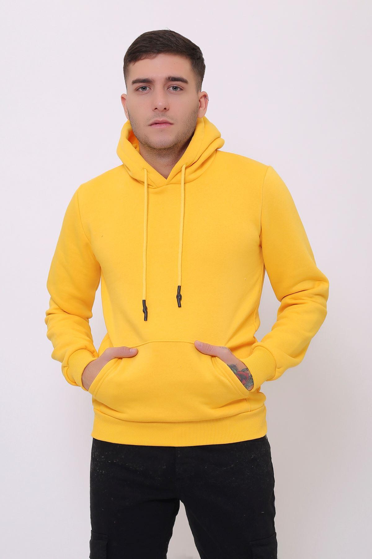 Sarı Erkek Uzun Kollu Kapüşonlu Kanguru Cepli  Sweatshirt