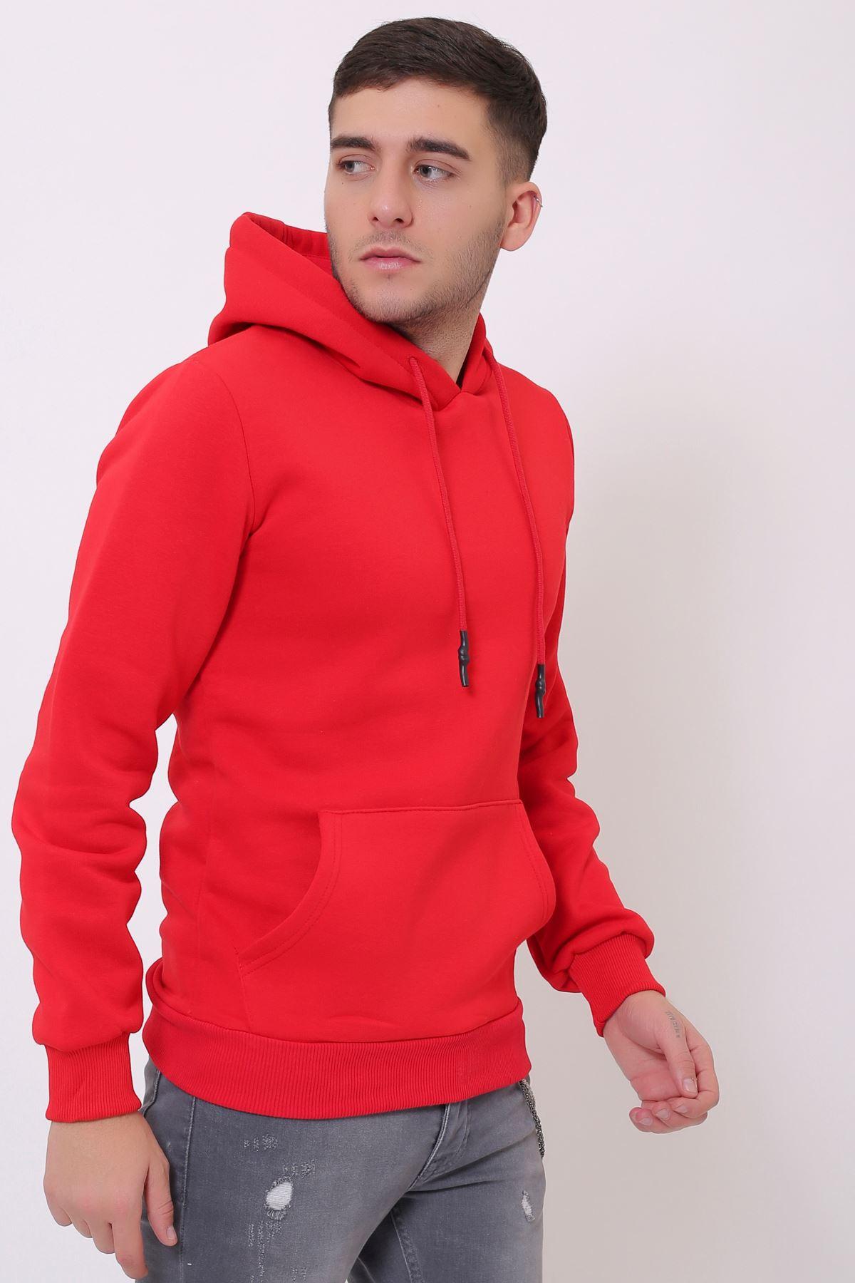 Kırmızı Erkek Uzun Kollu Kapüşonlu Kanguru Cepli  Sweatshirt