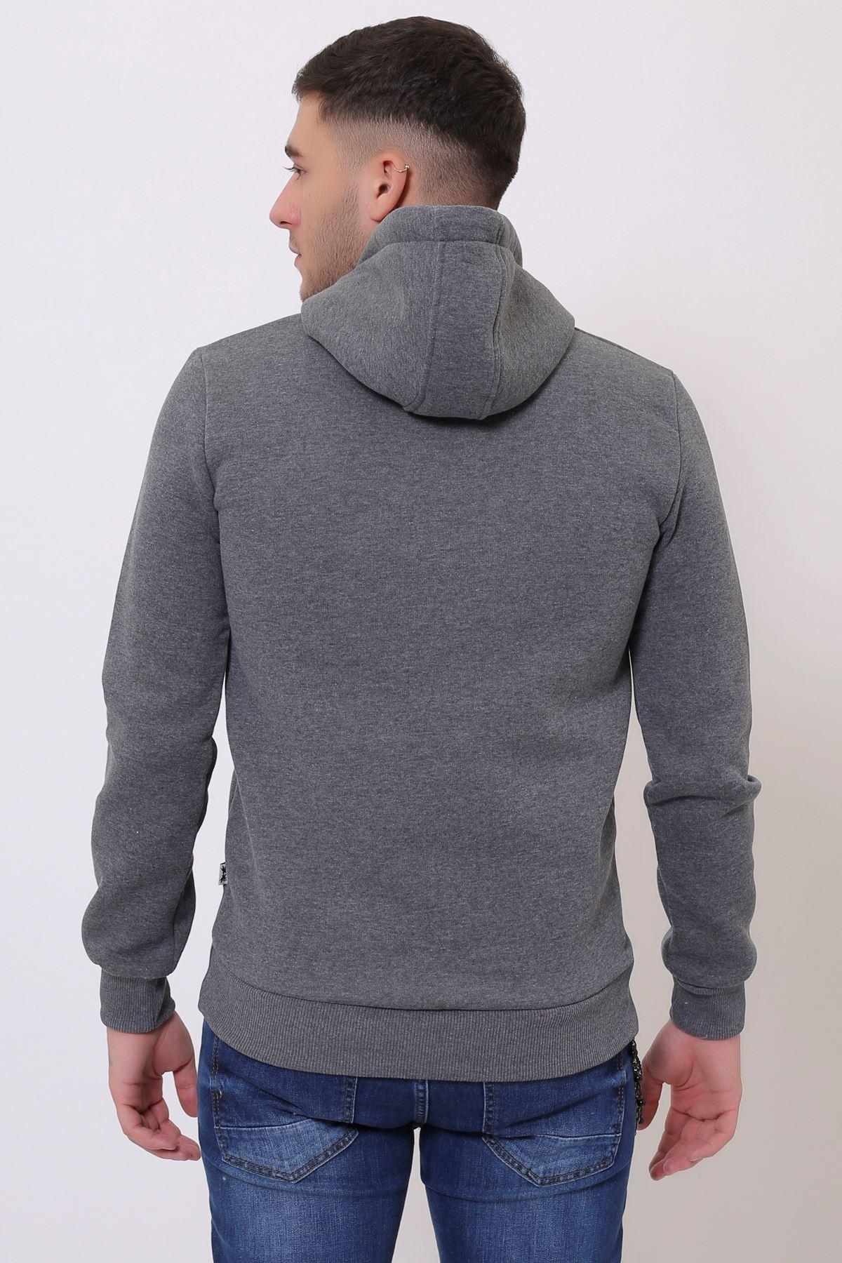 Antrasit Erkek Uzun Kollu Kapüşonlu Kanguru Cepli  Sweatshirt