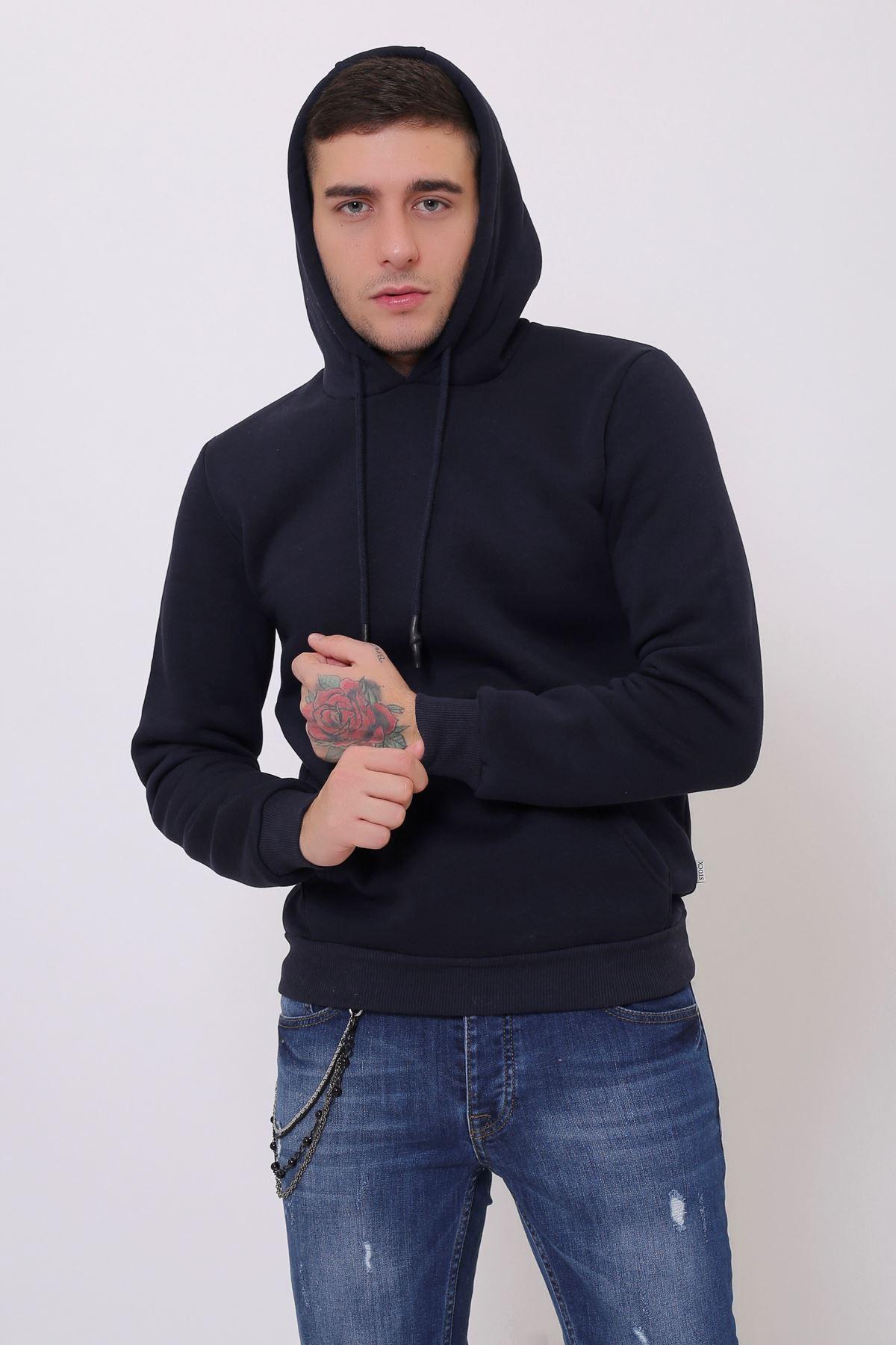 Siyah Erkek Uzun Kollu Kapüşonlu Kanguru Cepli  Sweatshirt