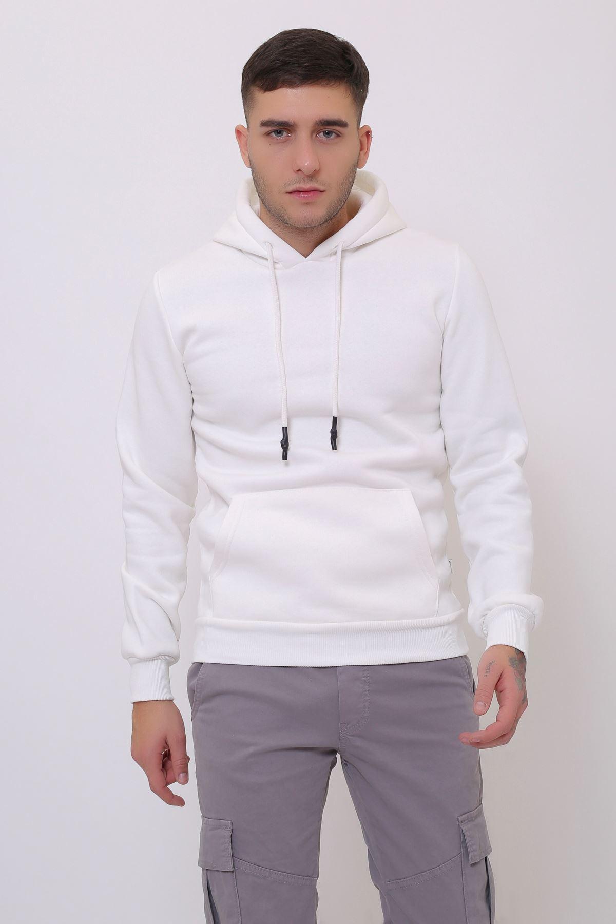 Beyaz Erkek Uzun Kollu Kapüşonlu Kanguru Cepli  Sweatshirt