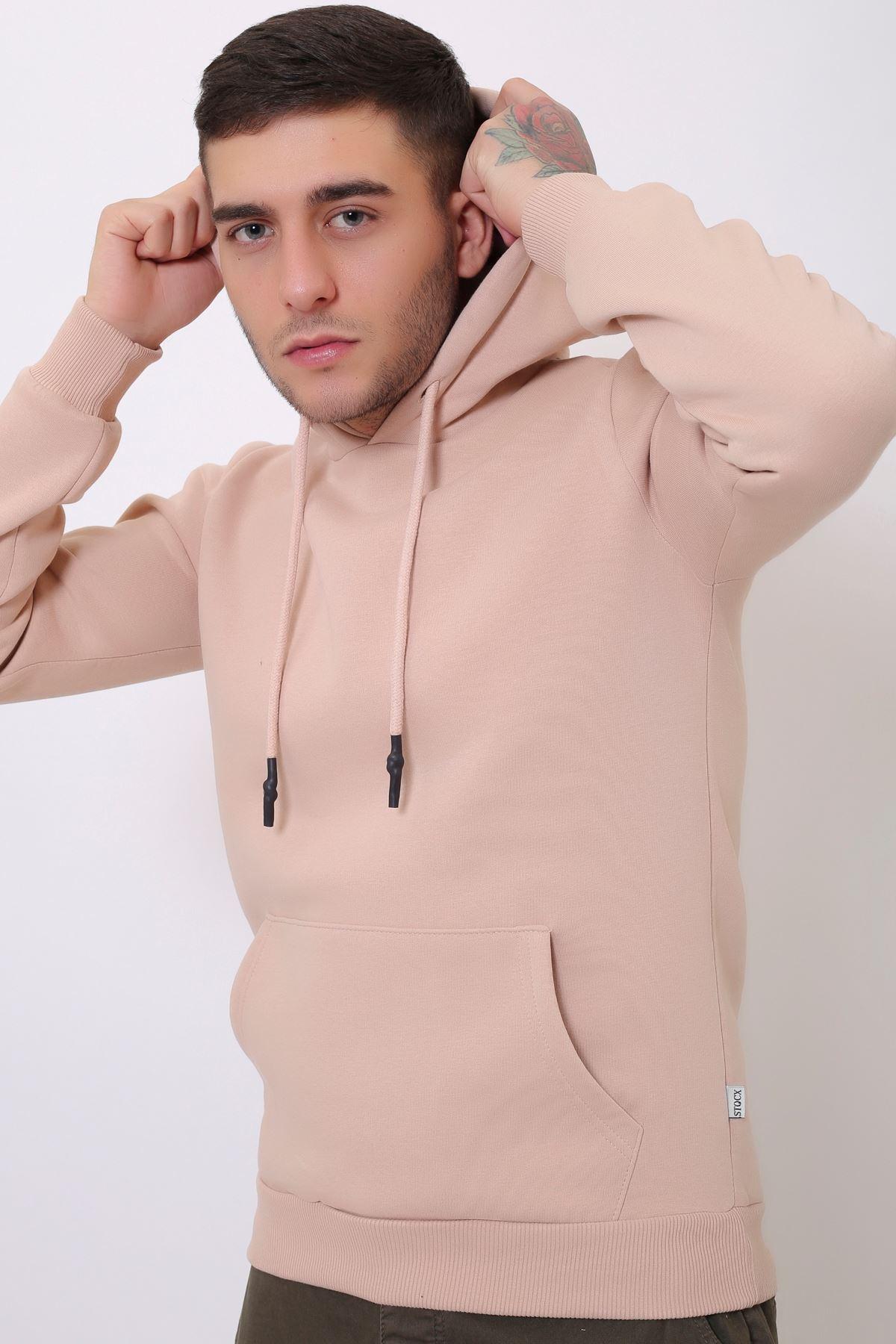 Pudra Erkek Uzun Kollu Kapüşonlu Kanguru Cepli  Sweatshirt