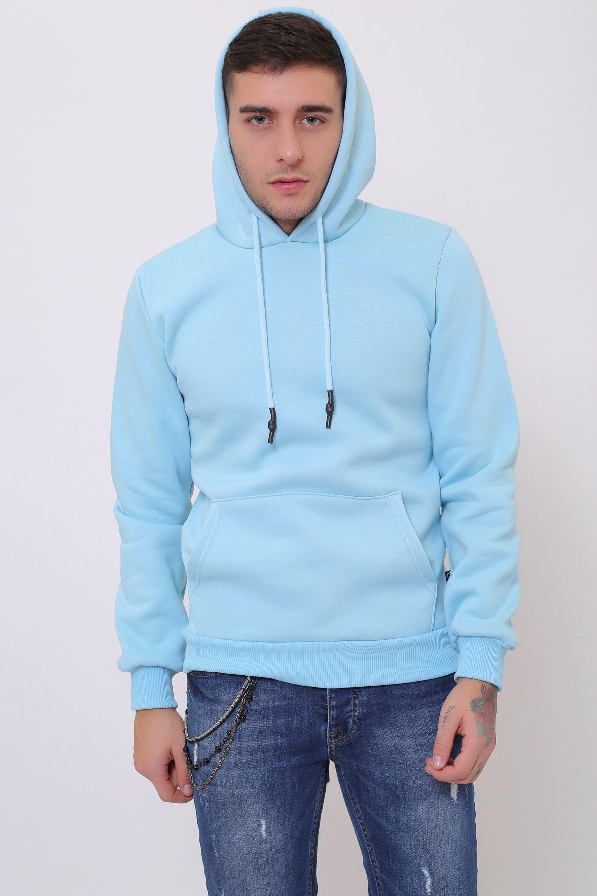 Mint Erkek Uzun Kollu Kapüşonlu Kanguru Cepli  Sweatshirt