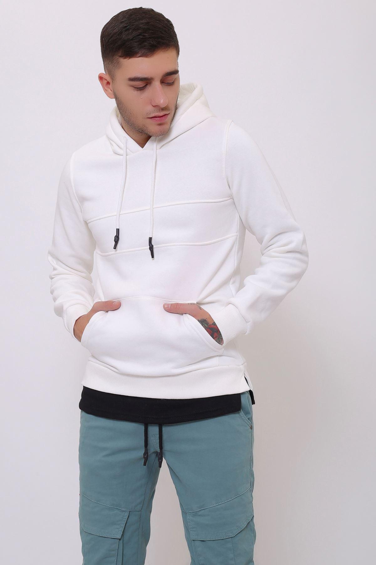 Beyaz Erkek Yırtmaç ve Ek parçalı Kapüşonlu Kanguru Cepli  Sweatshirt