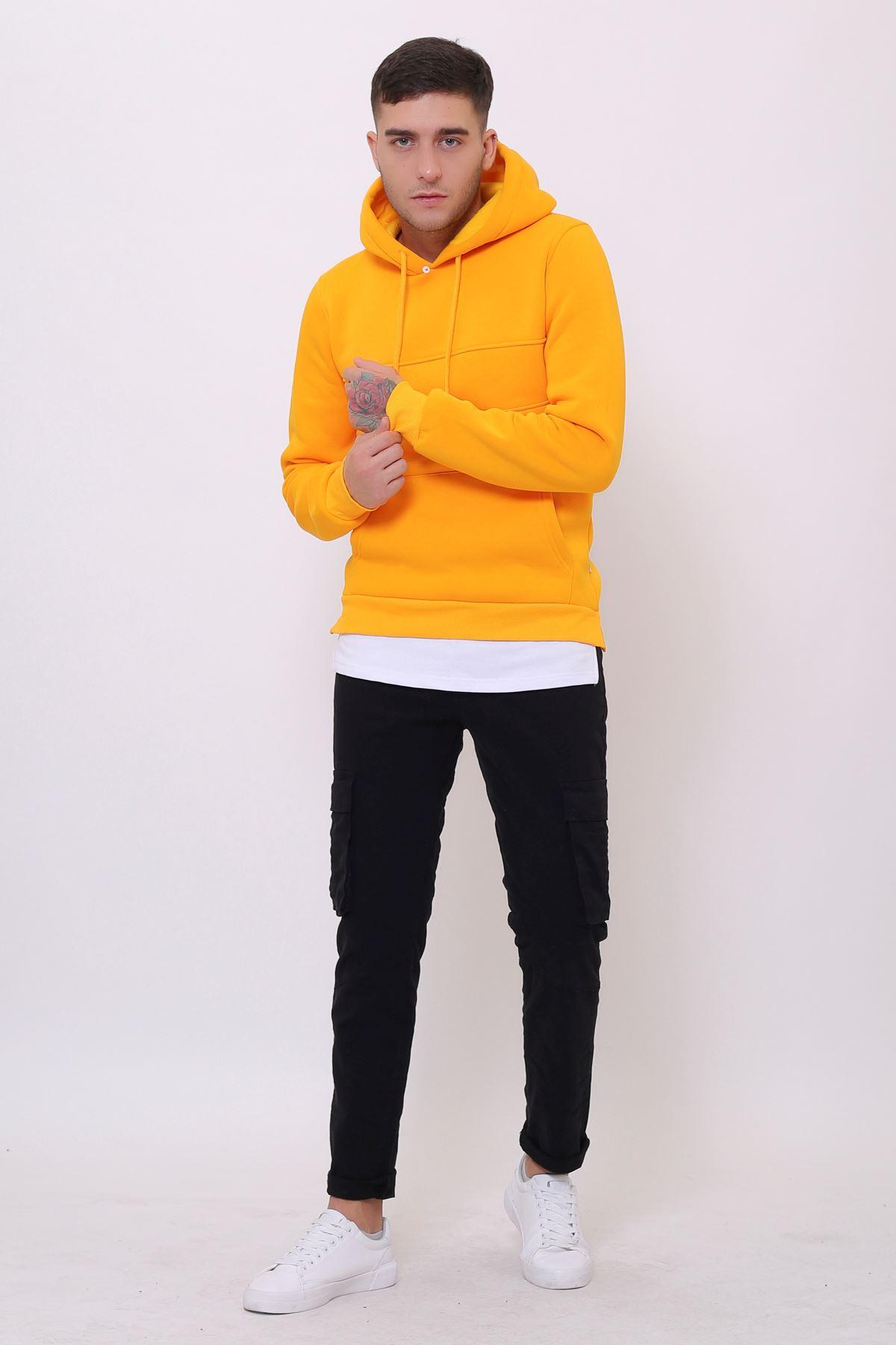 Sarı Erkek Yırtmaç ve Ek parçalı Kapüşonlu Kanguru Cepli  Sweatshirt