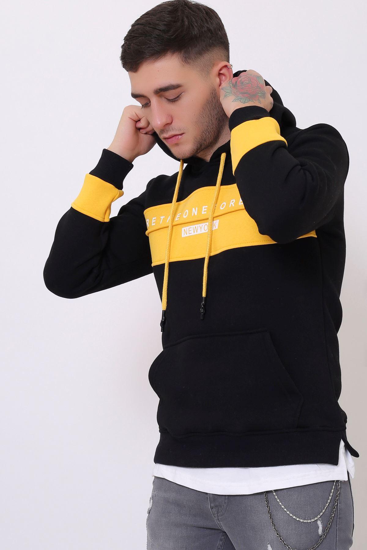 Siyah Erkek Baskılı Panelli  Kapüşonlu Kanguru Cepli  Sweatshirt