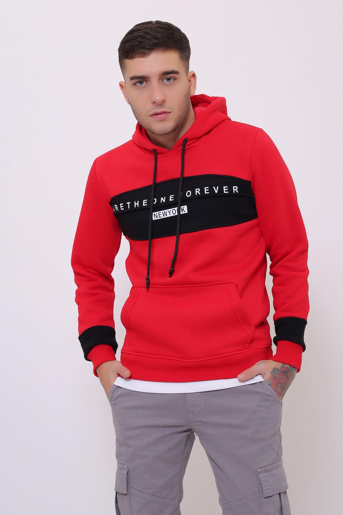 Kırmızı Erkek Baskılı Panelli  Kapüşonlu Kanguru Cepli  Sweatshirt