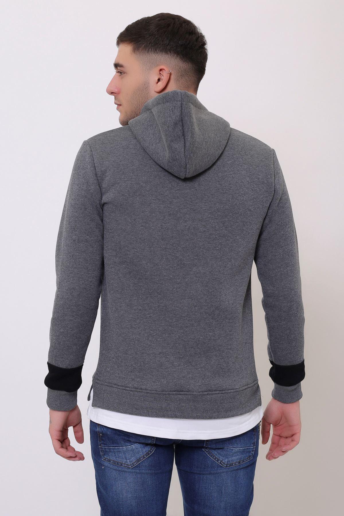 Antrasit Erkek Baskılı Panelli  Kapüşonlu Kanguru Cepli  Sweatshirt