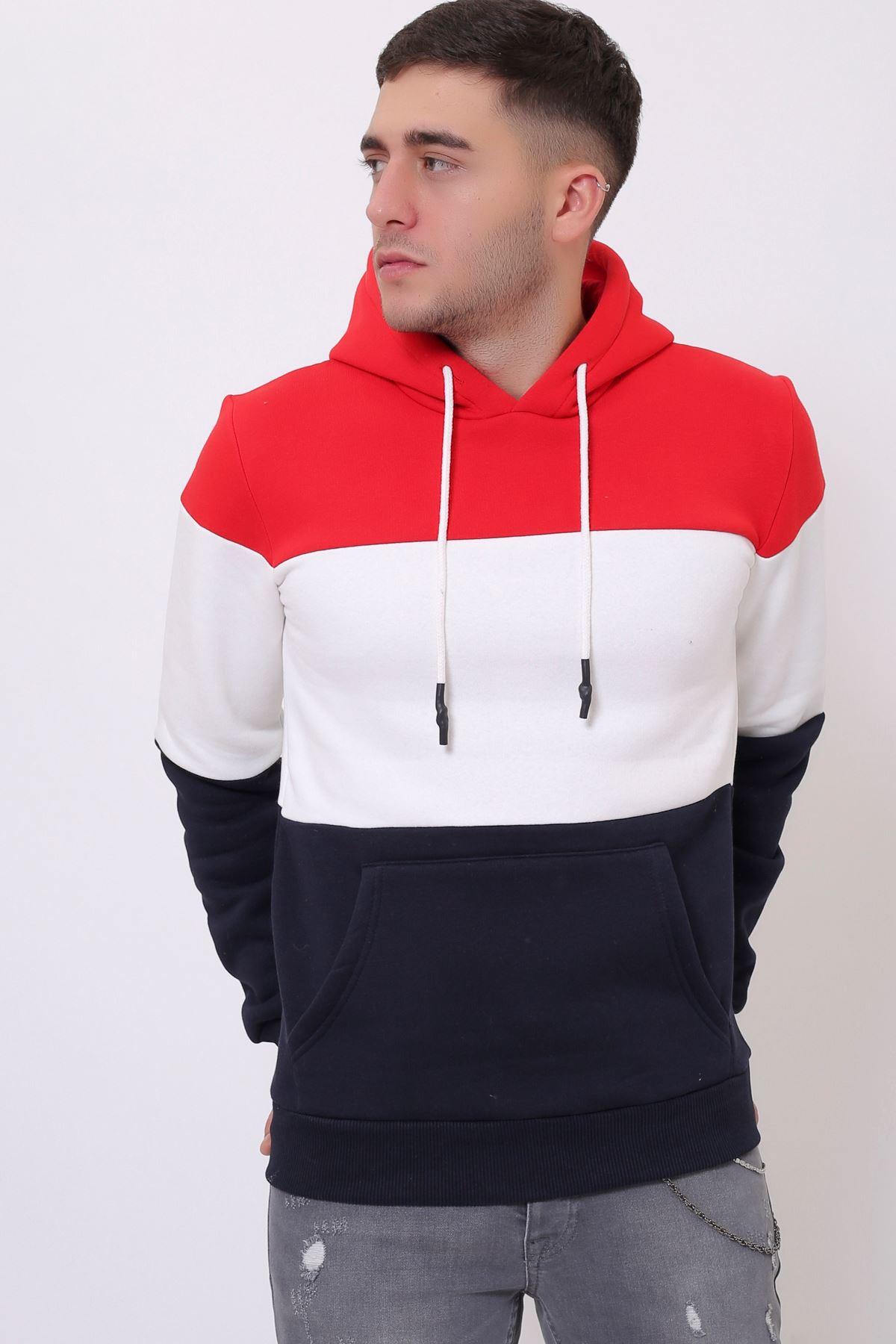 Kırmızı Erkek Üç Renk Panelli  Kapüşonlu Kanguru Cepli  Sweatshirt