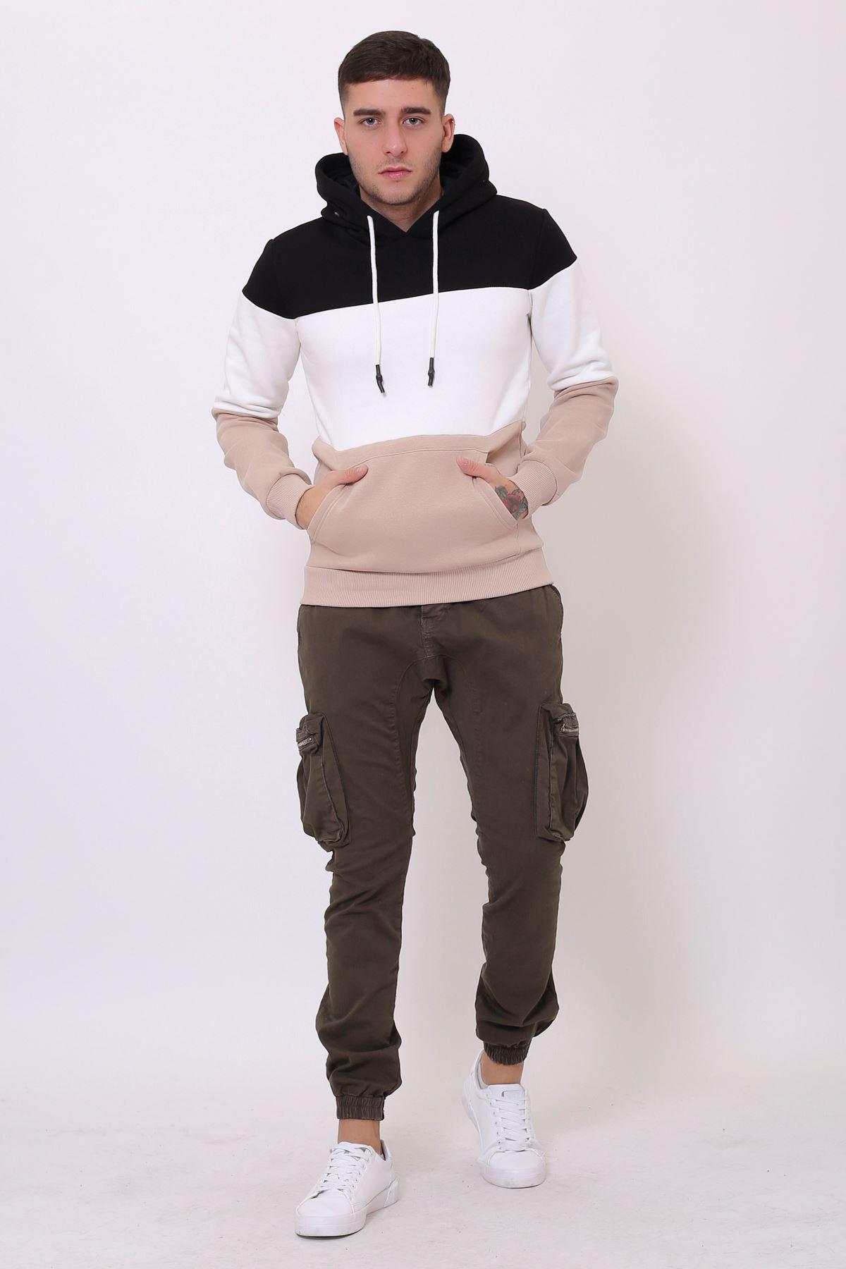 Kahve Erkek Üç Renk Panelli  Kapüşonlu Kanguru Cepli  Sweatshirt