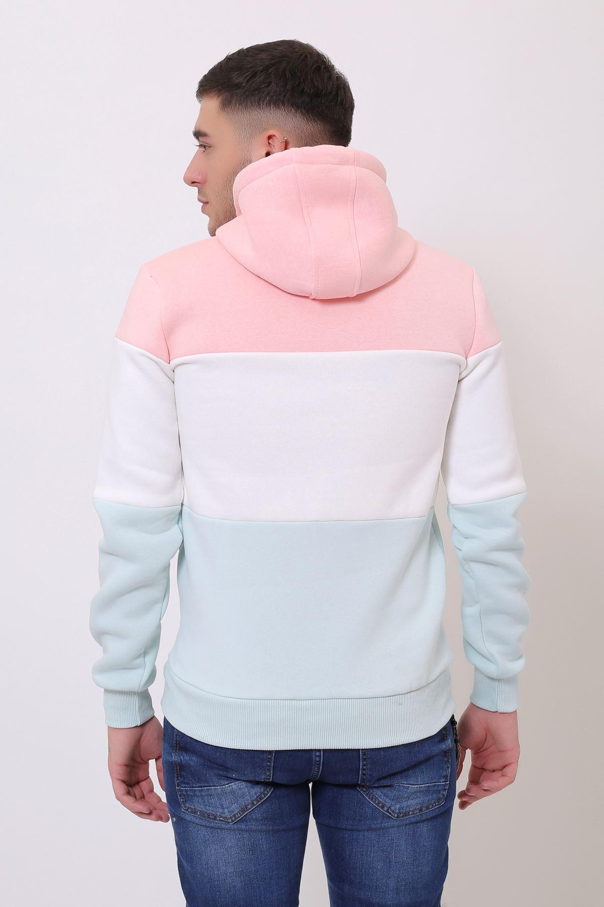 Pembe Erkek Üç Renk Panelli  Kapüşonlu Kanguru Cepli  Sweatshirt