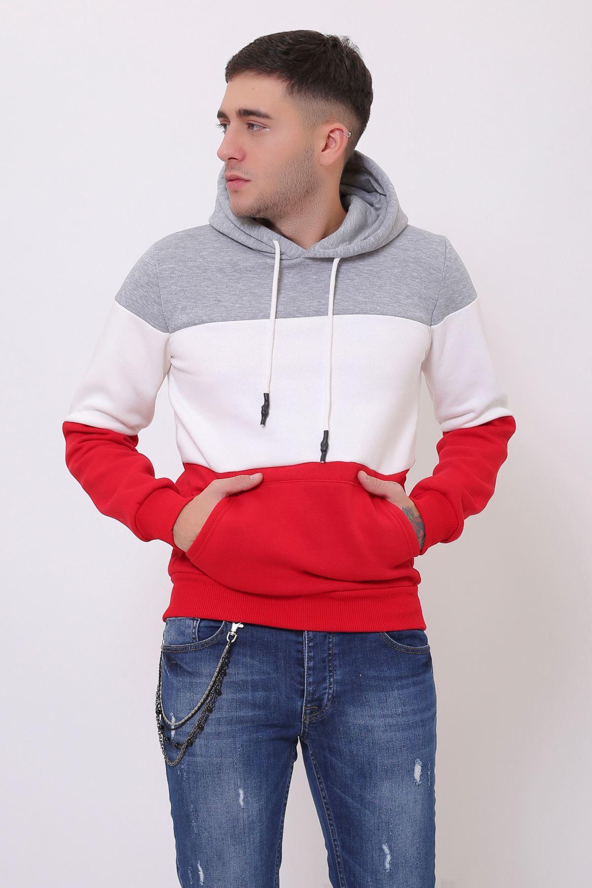 Gri Erkek Üç Renk Panelli  Kapüşonlu Kanguru Cepli  Sweatshirt