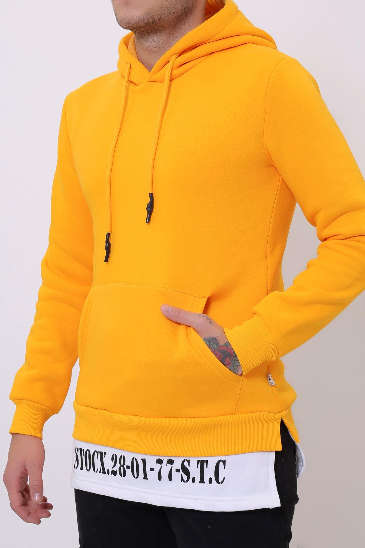 Hardal Erkek Yırtmaç Baskılı Kapüşonlu Kanguru Cepli  Sweatshirt