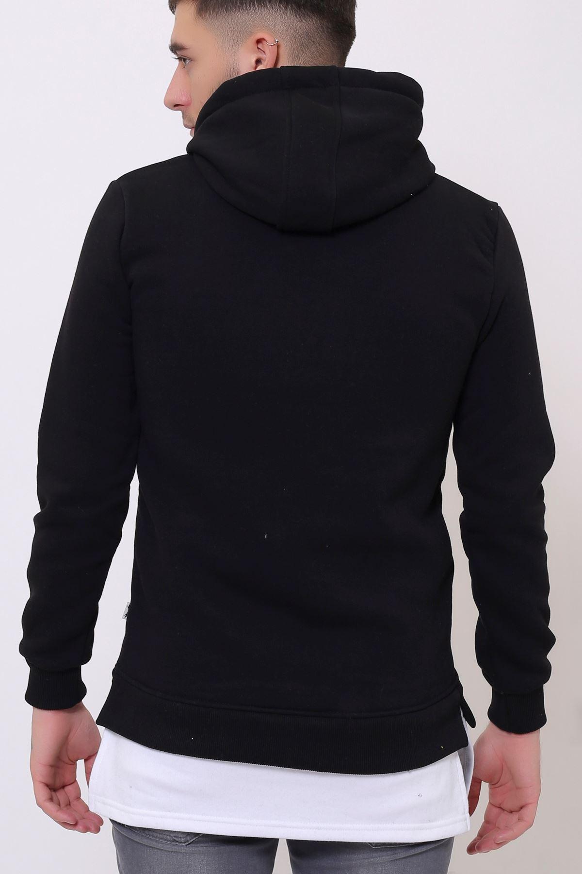 Siyah Erkek Yırtmaç Baskılı Kapüşonlu Kanguru Cepli  Sweatshirt