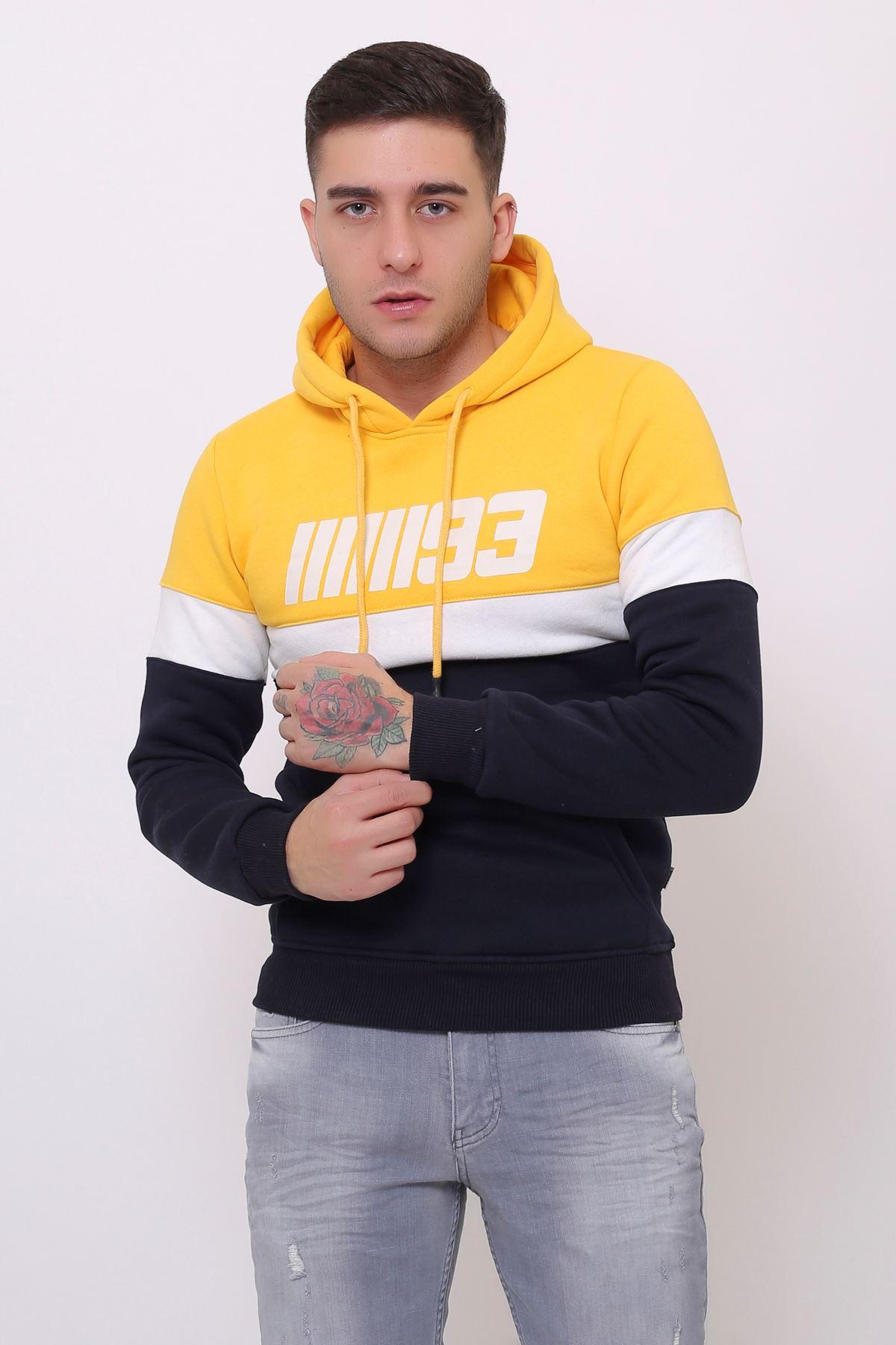 Sarı Erkek Baskılı Panelli  Kapüşonlu Kanguru Cepli  Sweatshirt