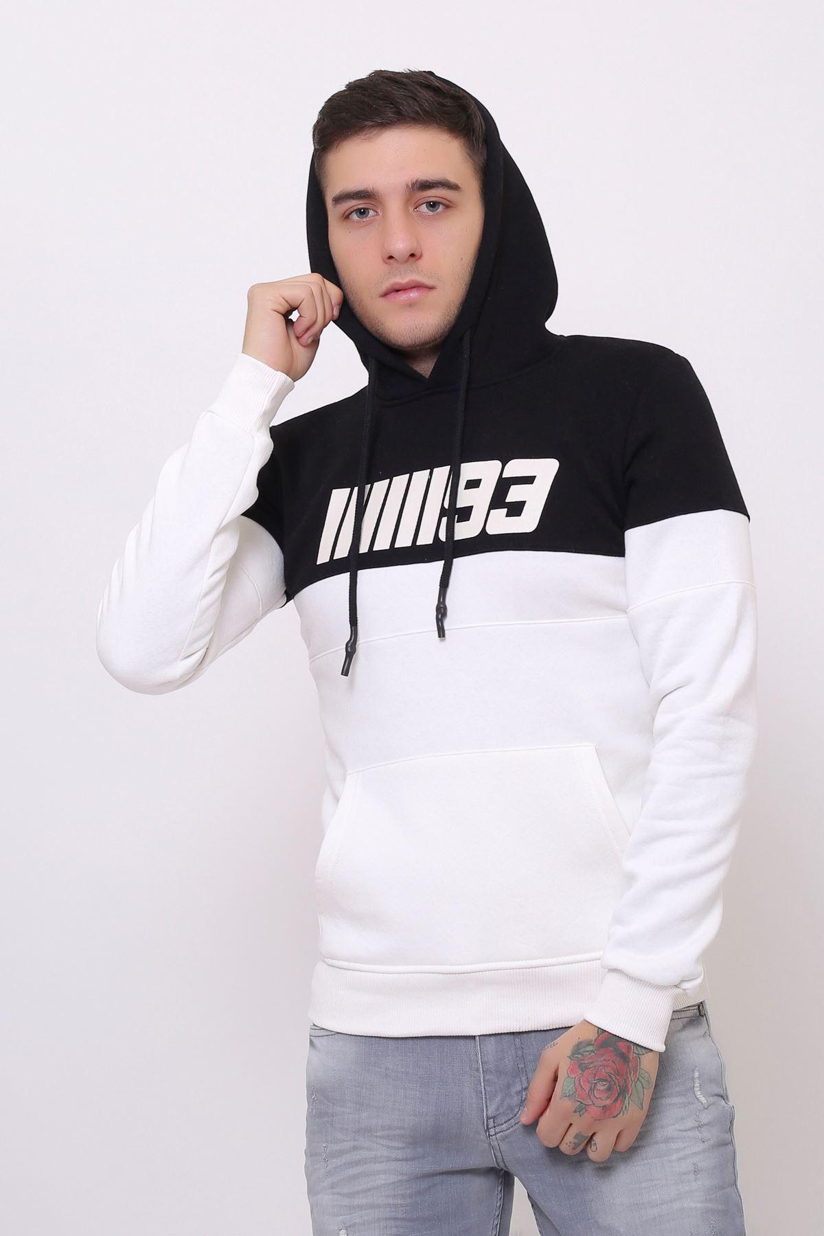 Beyaz Erkek Baskılı Panelli  Kapüşonlu Kanguru Cepli  Sweatshirt