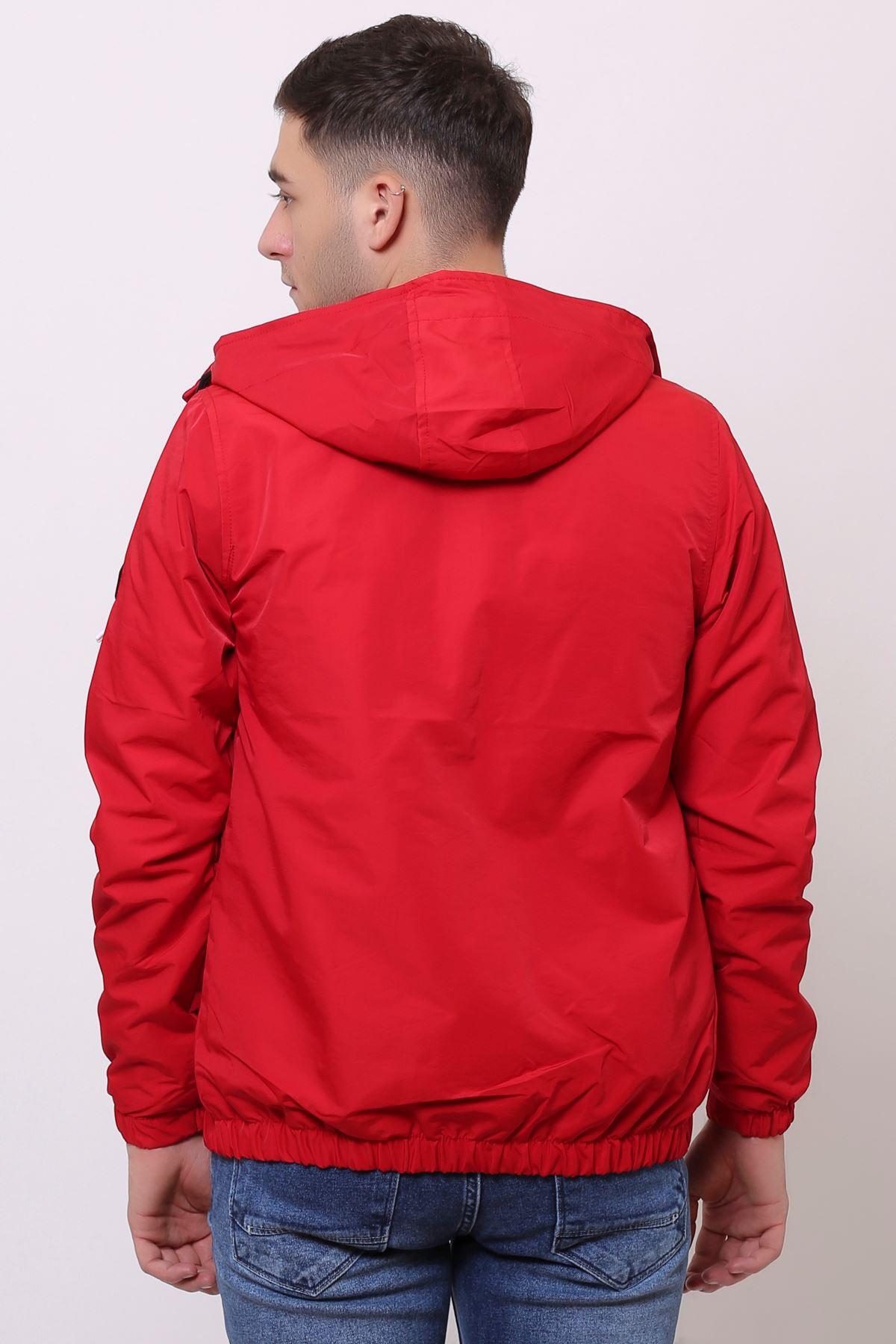 Kapüşonlu Kırmızı Mevsimlik Erkek Mont