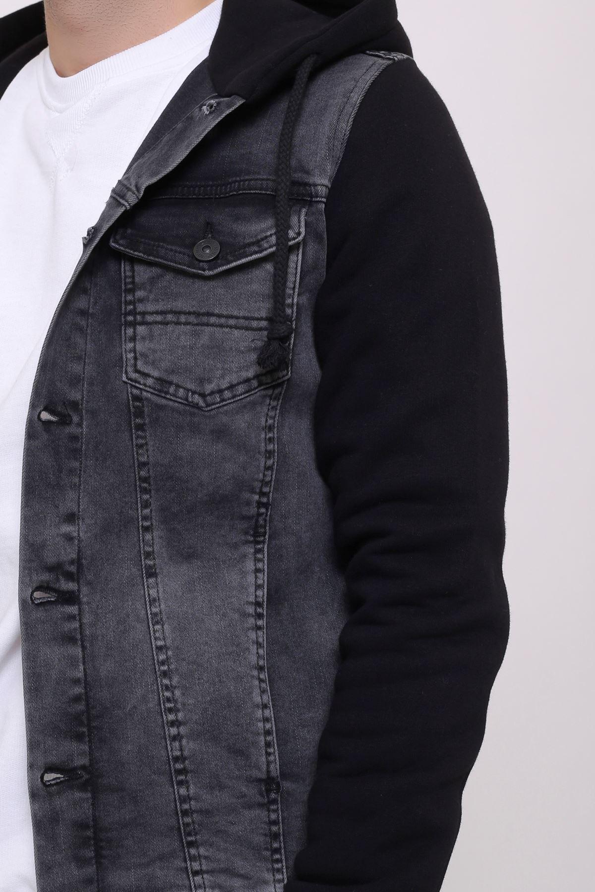 Erkek Kapüşonlu Yıkamalı Siyah Kot Ceket