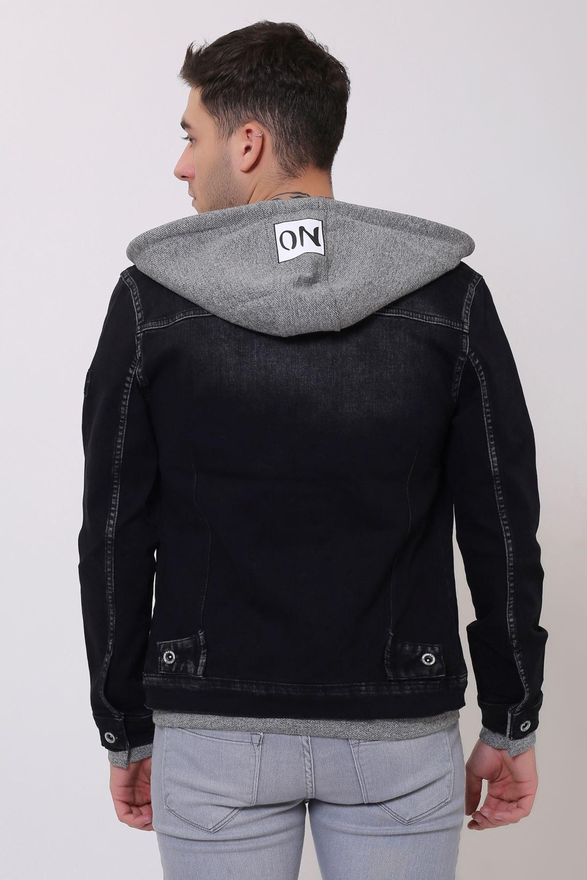 Kapüşonlu Erkek Siyah Kot Ceket Baskı Detay