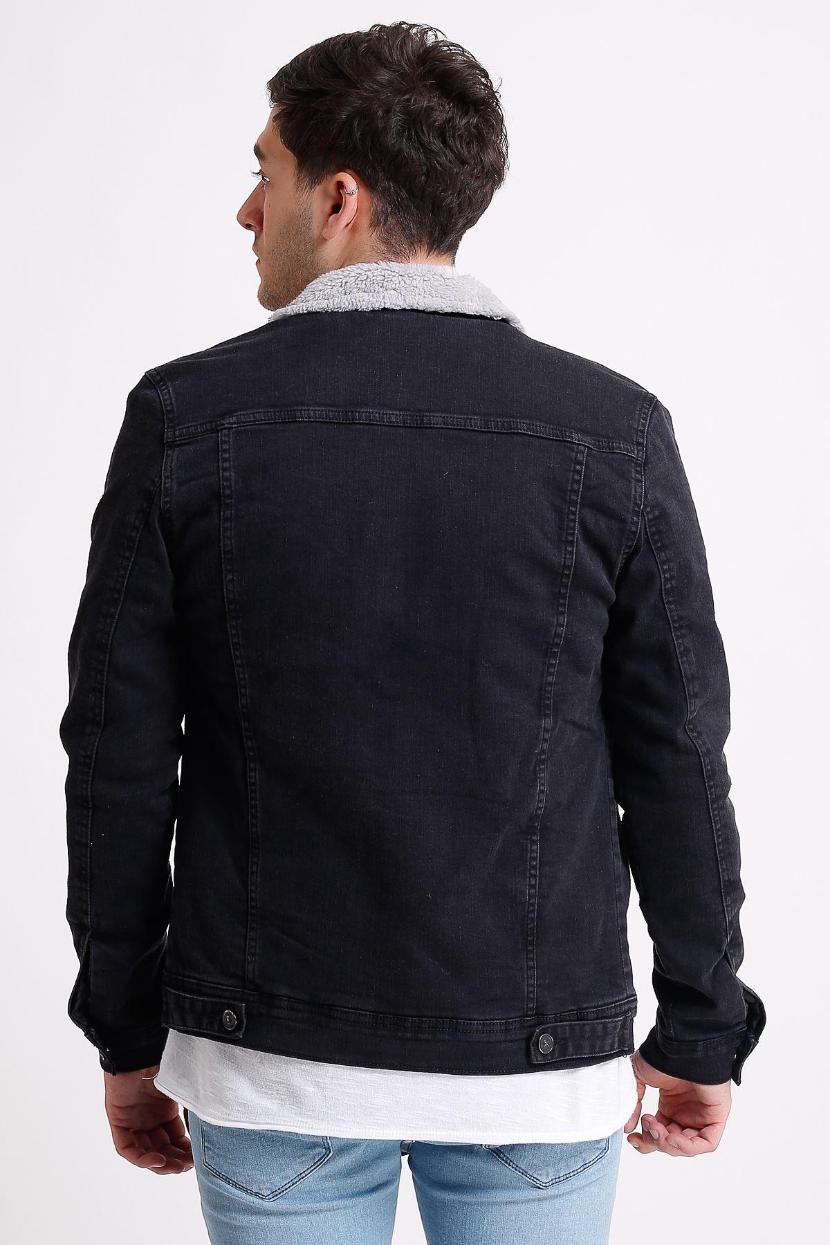İçi Kürklü Siyah Erkek Yıkamalı Kot Ceket