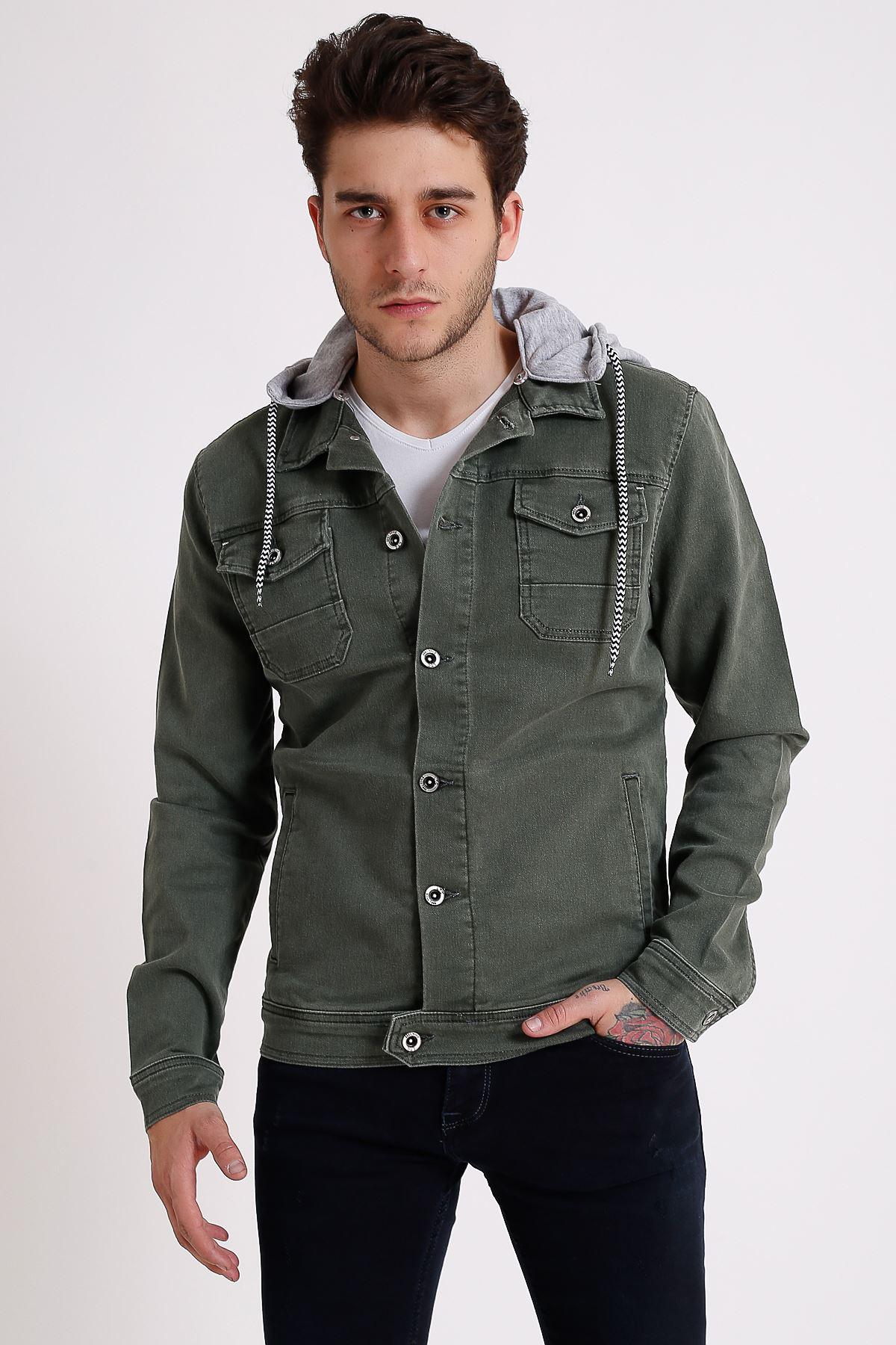 Erkek Çıkarılabilir Kapüşonlu Yıkamalı Haki Kot Ceket