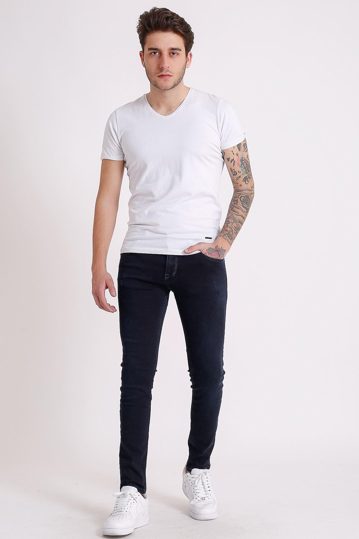 Lacivert Süperslim/sknny Fit Fermuarlı Erkek Jeans Pantolon