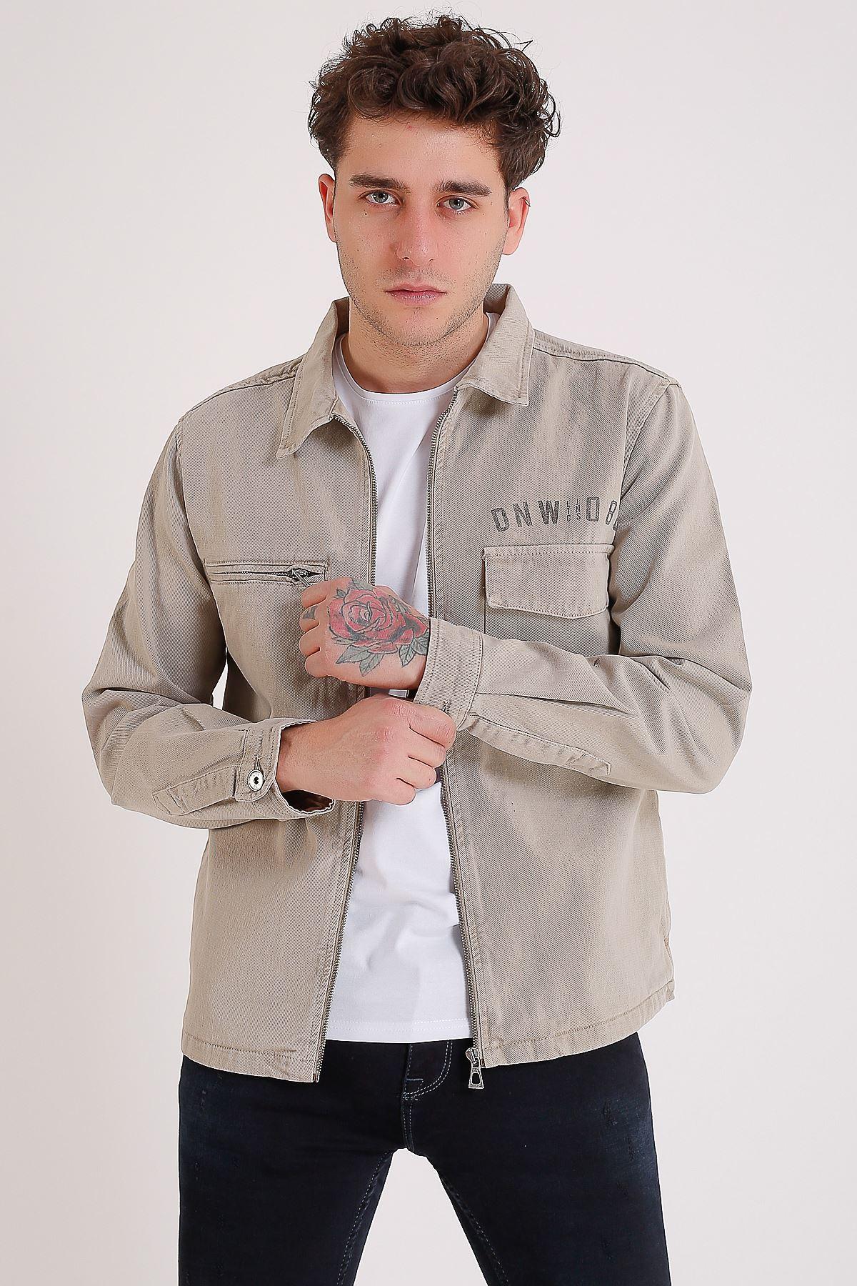Premium Pamuklu Bej Ceket Cep Fermuar Ve Detay Baskı