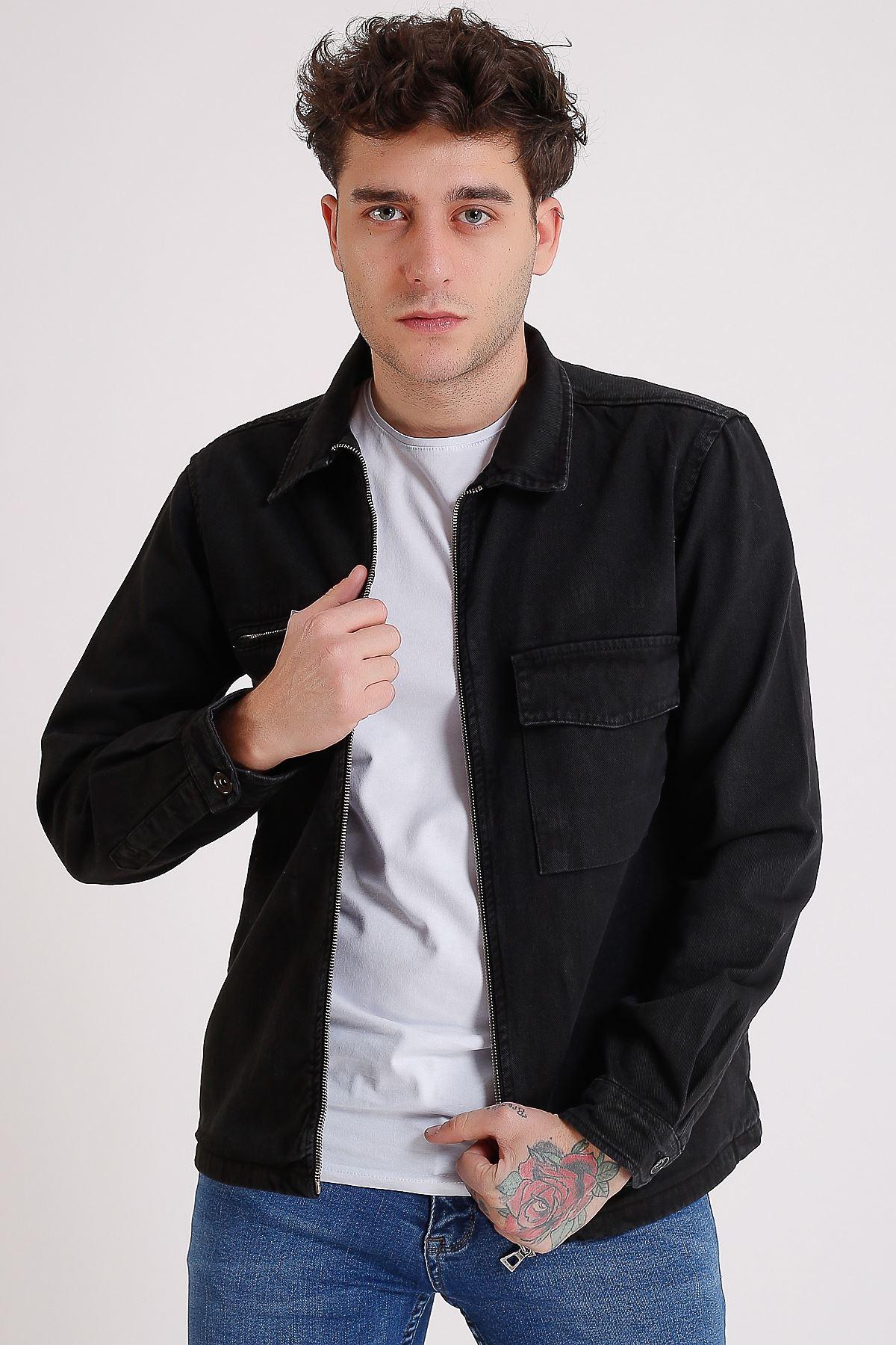 Premium Pamuklu Siyah Ceket Cep Fermuar Ve Detay Baskı