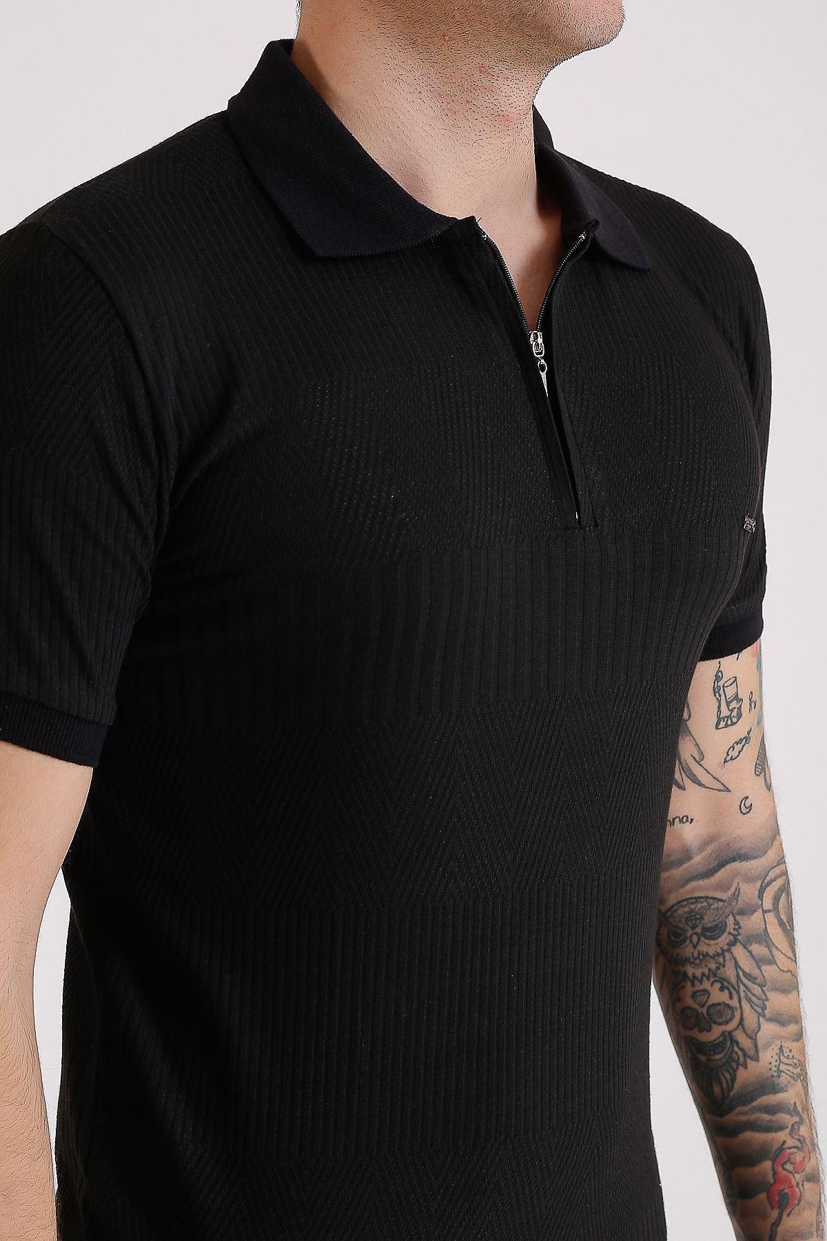 Erkek Polo yaka Desenli Örme Siyah T-Shirt