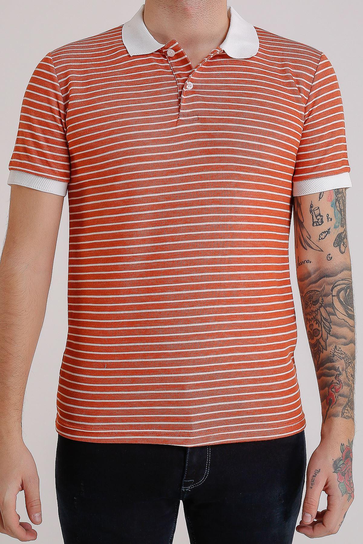 Erkek Polo yaka Çizgili Mercan T-Shirt