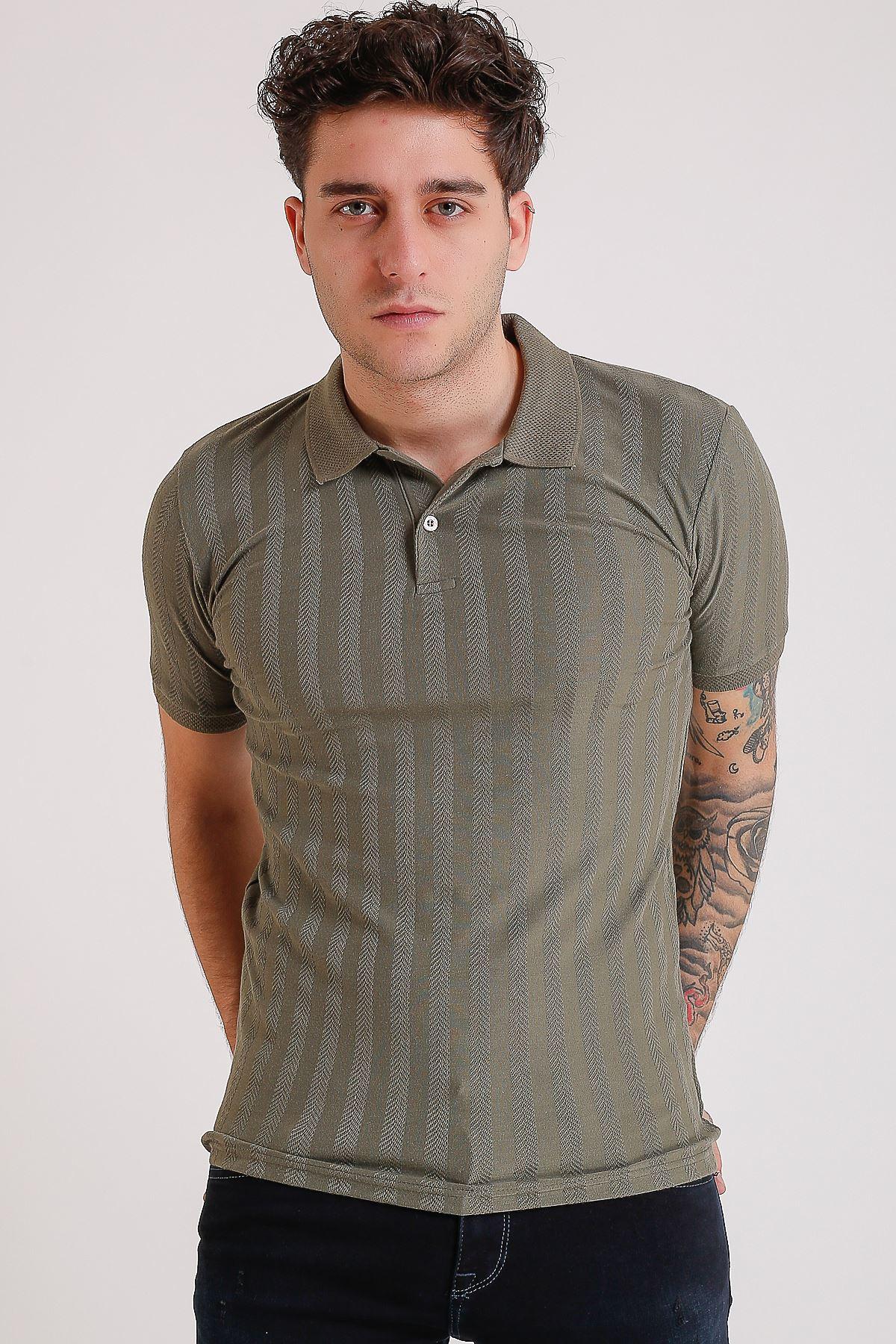 Erkek Polo yaka Örme Haki T-Shirt