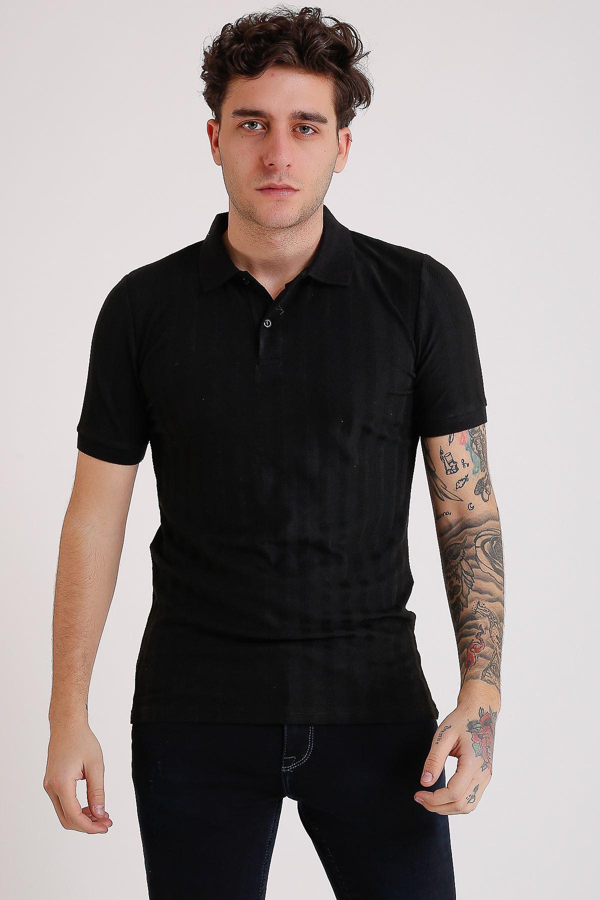 Erkek Polo yaka Örme Siyah T-Shirt