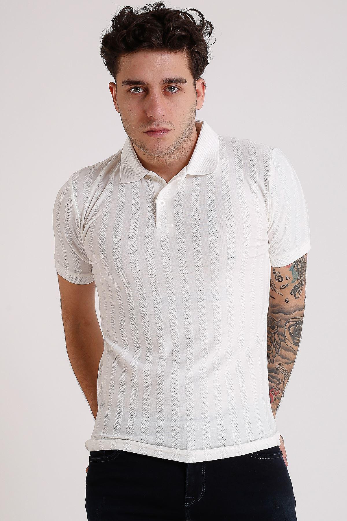 Erkek Polo yaka Örme Beyaz T-Shirt