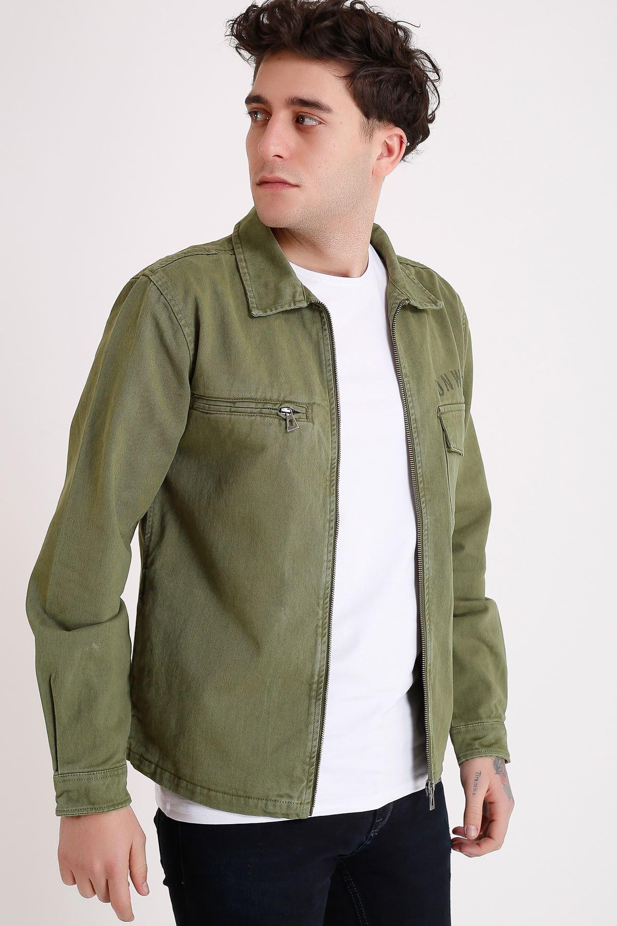 Premium Pamuklu Haki Ceket Cep Fermuar Ve Detay Baskı