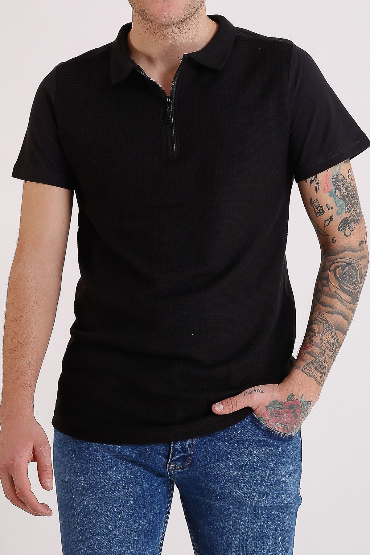 Erkek Polo Yaka Siyah Fermuarlı T-Shirt