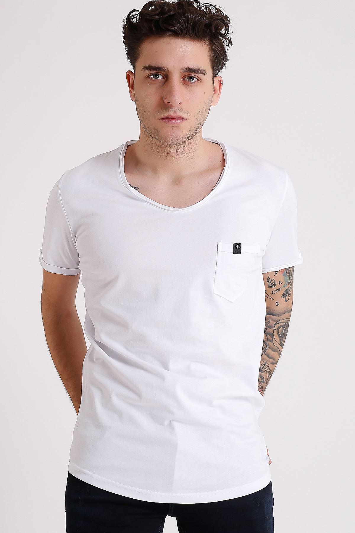 Bisiklet Yaka Cepli Beyaz Erkek Penye T-Shirt