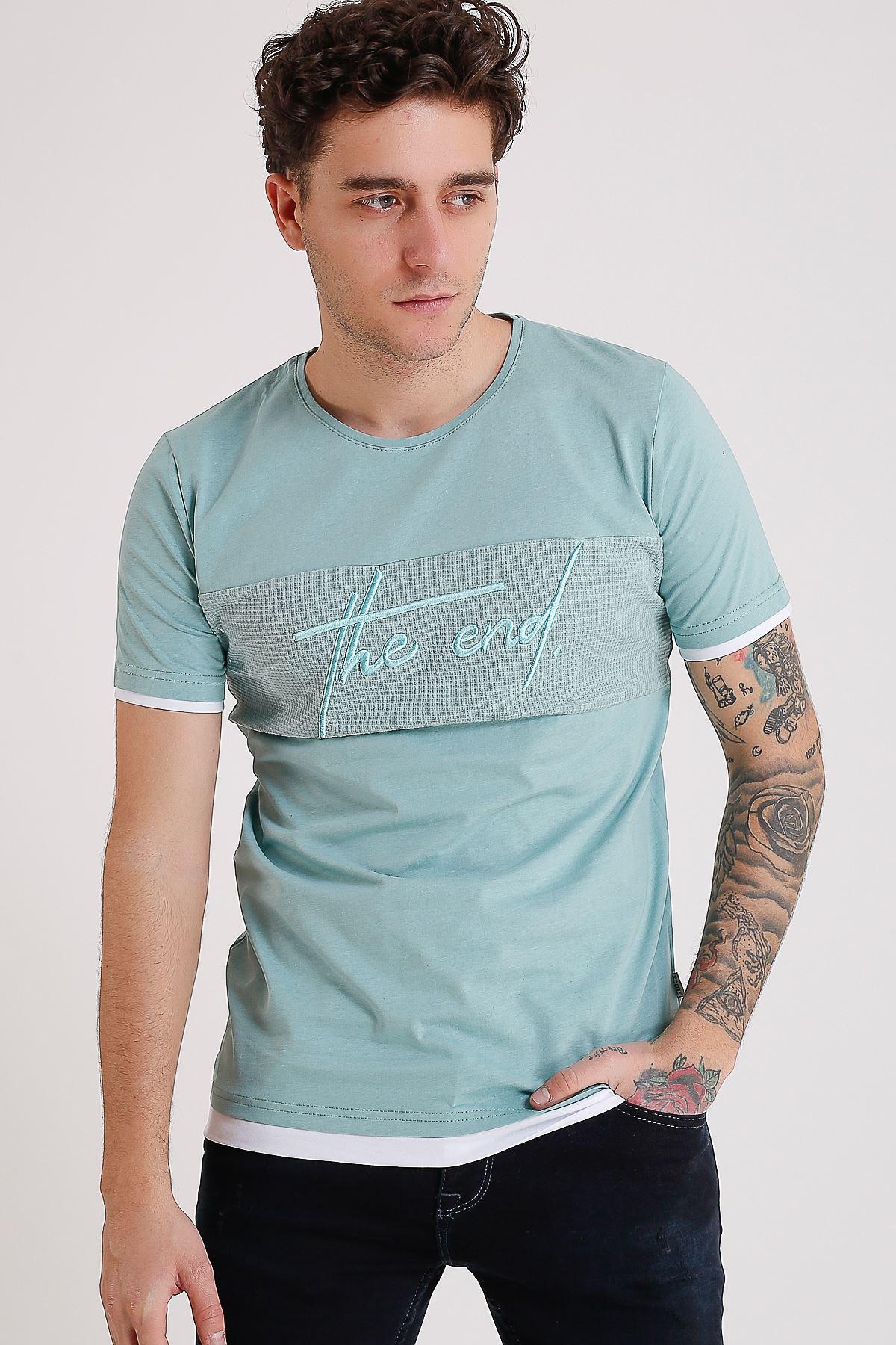 Bisiklet Yaka Nakışlı Mint Erkek Penye T-Shirt