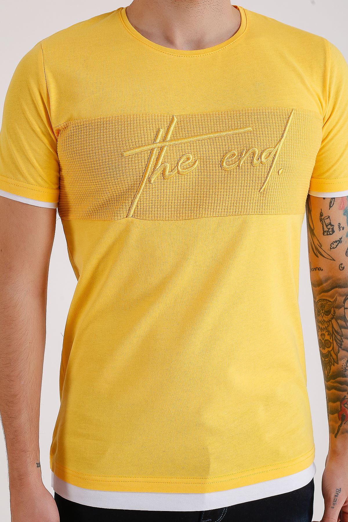Bisiklet Yaka Nakışlı Sarı Erkek Penye T-Shirt
