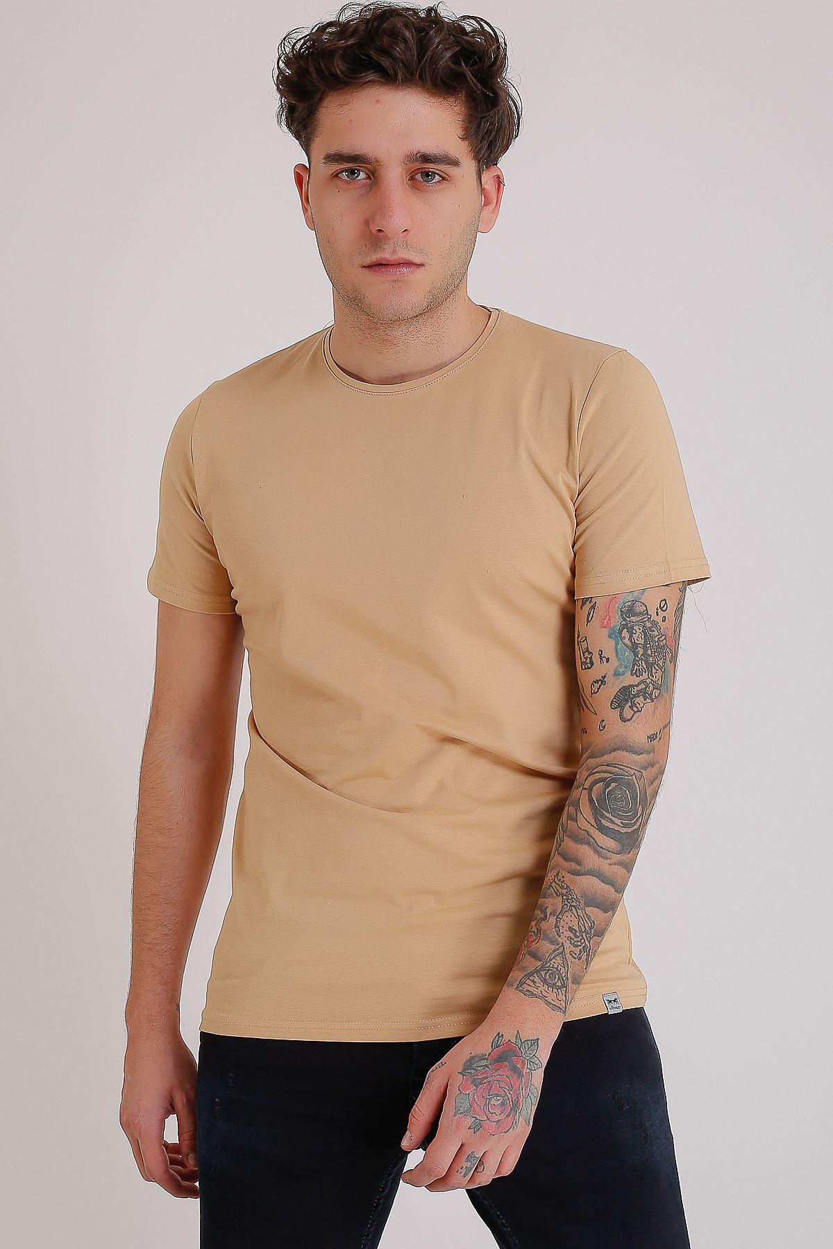 Bisiklet Yaka Basic Kahve Erkek T-Shirt