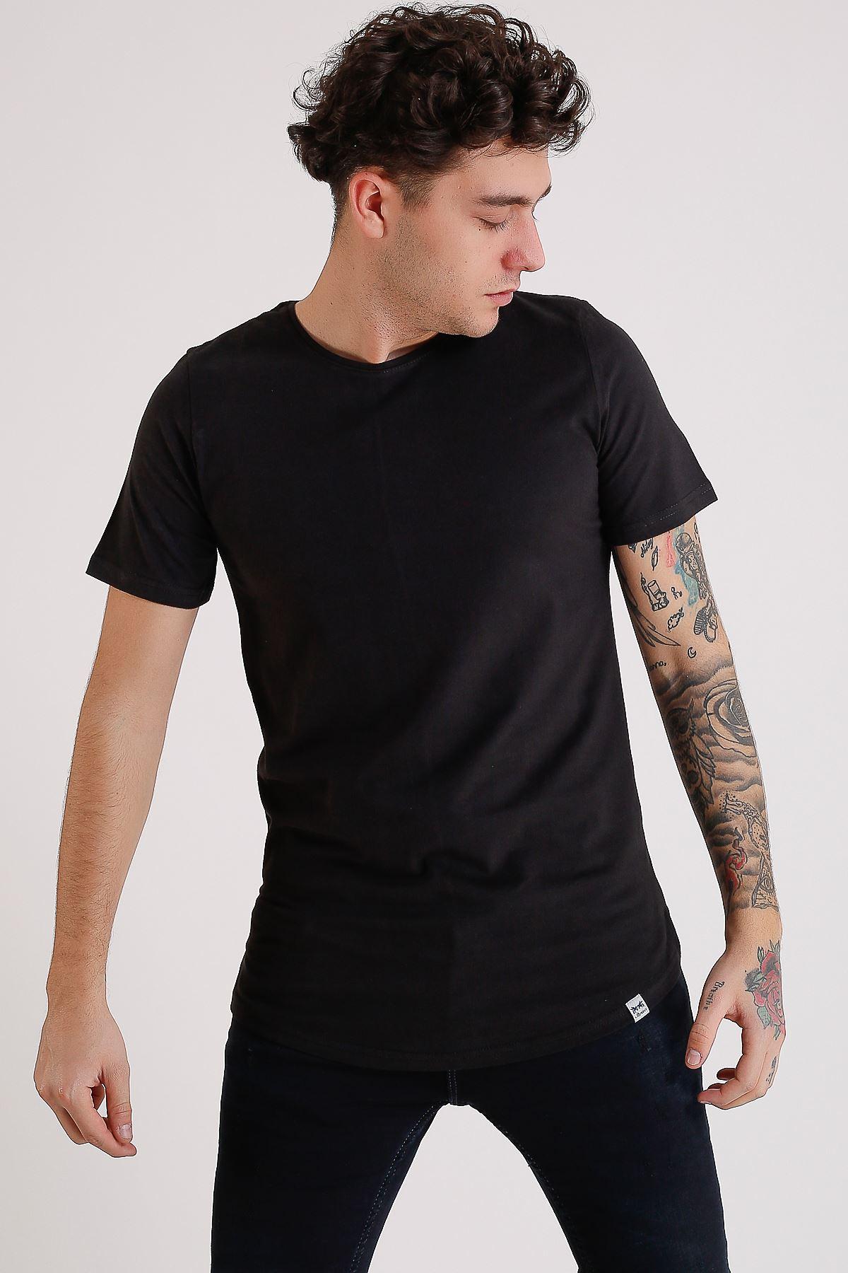 Bisiklet Yaka Basic Oval Kesim Siyah Erkek T-Shirt