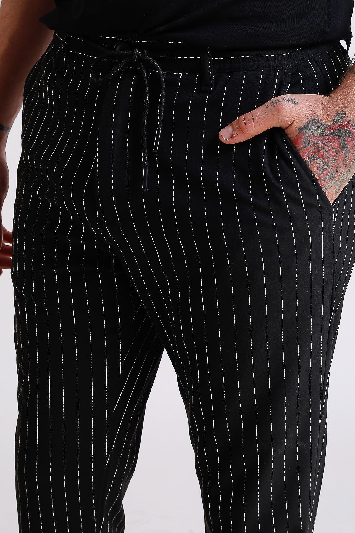 Erkek Beli Lastikli ve İpli Duble paçalı Çizgili Siyah Jogger Pantolon