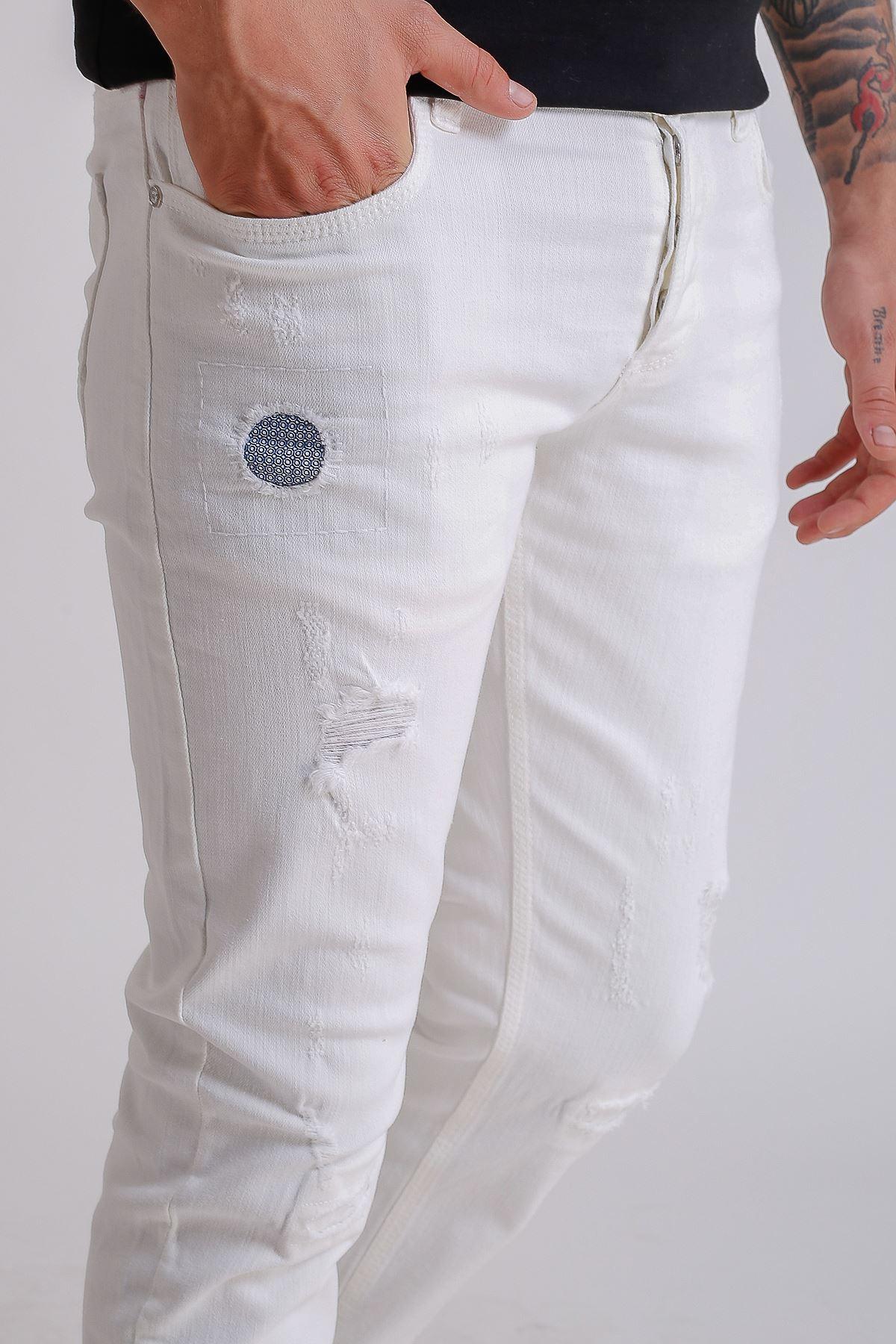 Beyaz Yıpratmalı Slimfit Erkek Pantolon