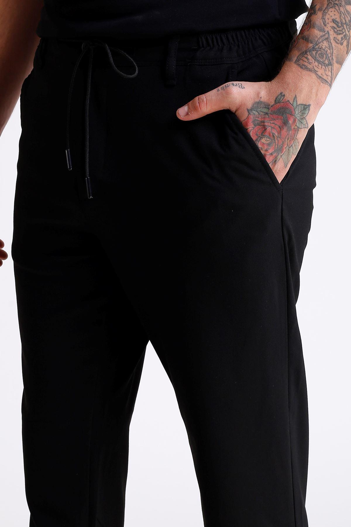 Erkek Beli Lastikli İpli Siyah Jogger Pantolon