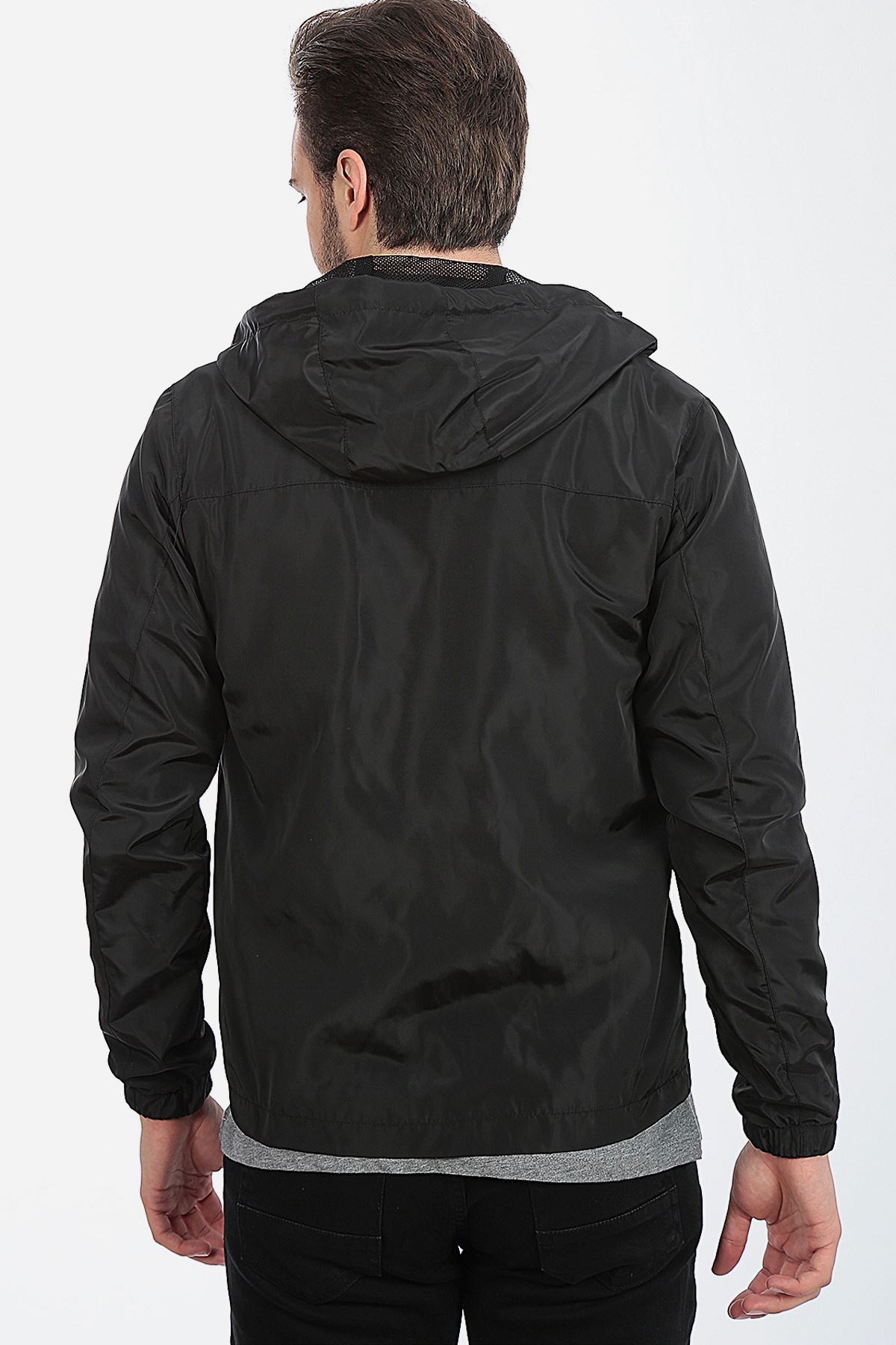 Erkek Siyah Baharlık İnce Astarlı İç cepli Hafif Ceket